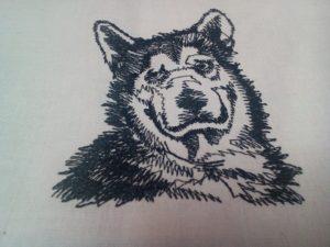 Malamut vysivka pes zastavy.com