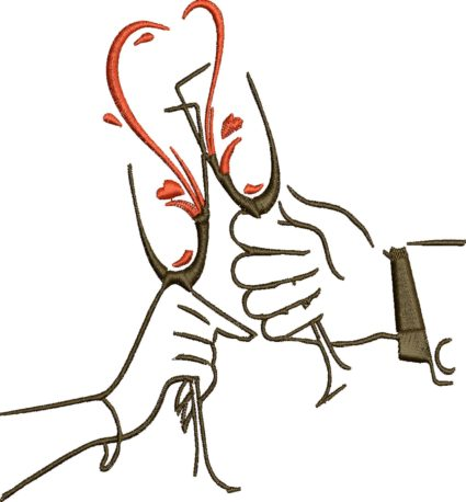 svadboný podbradník poháre so šampanským zastavy.com vysivka